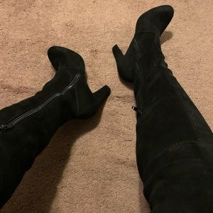 Black over the knee suede boots
